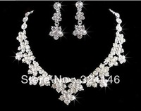 Hot sale flower crsytal bridal jewelry sets silver plated necklace sets wedding jewelry sets accessory