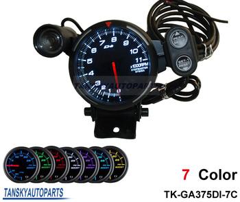 "Tansky - DE** 3.75"" STEPPER MOTOR TACHOMETER/CAR METER  BLACK FACE TK-GA375DI-White (Light: White)"