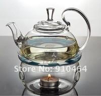 Glass Teapot 600ml,tea sets,teapot+2 Double wall glass coffe tea Cup+1 Warmer+1small Candle+good gift