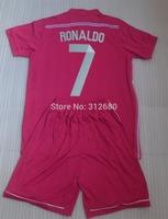 Ronaldo #7 BALE &11 ISCO #23 real madrid Away Pink kid children youth boy soccer Jersey kits (shirts + shorts) 14/15