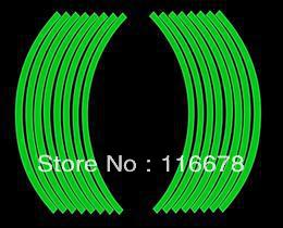 "Green 18"" Motorcycle Scooter Wheel Rim Stripe Reflective Decal Sticker Tire Tape for Yamaha Honda KTM Suzuki Kawasaki Aprilia(China (Mainland))"
