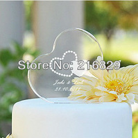 China post air mail free shipping  Personalized Heart Crystal Wedding Cake Topper (5 Designs)