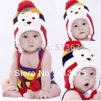 Free Shipping 2014 Fall/Winter new lovely Cartoon Bear plus velvet ear cap Winter children winter hat baby knitted acrylic hats