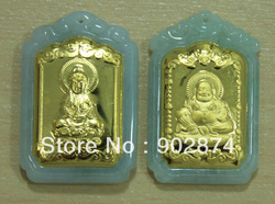 One Pair Grade A Jade Jadeite 24k Pure Gold Pendants Kuan Yin Kwanyin Guanyin Maitreya Buddha Charms decorations 004-2-3#(China (Mainland))