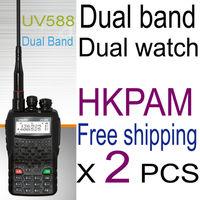 iradio free shipping 5w 588 vhf uhf portable dual band radio station with hand free earpiece for baofeng walkie talkie set uv-5r