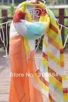 Free shipping Women's fashion Shawl /Sarong /printed scarf,1pc MOQ,2012 new stripe design,6 colors available,110*180cm