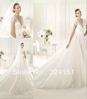 2013 princess New Arrival A Line  V Neck Court Train Short Sleeve Lace White Wedding Dress/Gown Dresses Discount