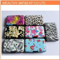 Drop shipping  printing aluminum credit card wallet zebra and leopard and flower printing BG002
