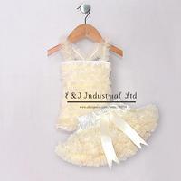 Wholesale Infant Girl Mini Ribbon Dresses Beige Petti Dress Tutu Petti Dress For Baby Wear Children Summer ClothesTC21219-04^^EI