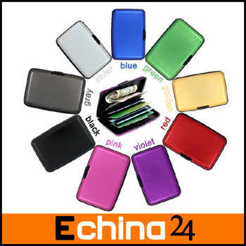 Colorful Fine-Satin Waterproof Business ID Credit Card Holder Aluma Wallet Solid Aluminum Wallet Free Shipping