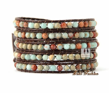 Natural Western Jasper Leather Wrap Bracelet High Модный Natural Stone Bracelet Factory ...