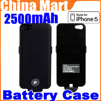 Free Shipping 2500mAh Portable External Battery Backup Case Cover Power Bank For iPhone 5