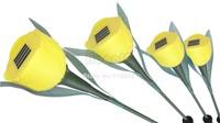 12Pcs/Lot Yellow Solar Lamp For Outdoor Garden LED Tulip Solar Landscape Flower Light Lamp Free Shipping Dropshipping 6880