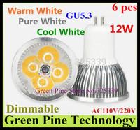 Free shipping 6 pcs CREE Dimmable 12W 9W GU5.3 E27 GU10 E14 B22 MR16 High Power LED Spotlight Downlight light Lamp bulb lighting