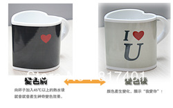Free shipping Heat Sensitive I WILL TELL YOU LOVE YOU MAGIC CERAMIC Color-changing Mug Heart Shaped Coffee Ceramic Mug Cup(China (Mainland))