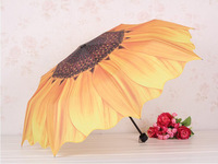 HK Free Shipping,High quality walking umbrella,Anti-uvumbrella, Sunflower 3 folding umbrella