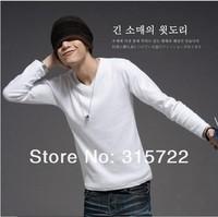 hot new Men's long-sleeved T-shirt soldi color V-neck korean T-shirt plus size M,L,XL,XXL V-018