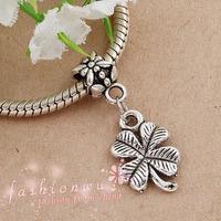 Min order $10 Free Shipping 1Pc Jewelry Silver Bead Charm European Bead Four Leaf Clover bead Fit BIAGI Bracelet B44