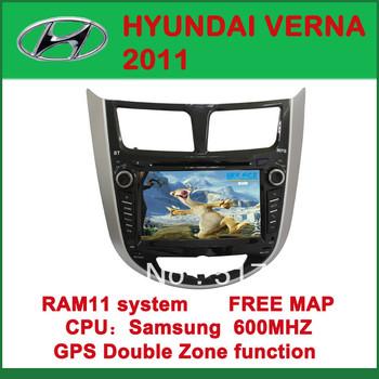 Car DVD Player with GPS for HYUNDAI VERNA 2011 - FM, Bluetooth, Free Map DVD+AM/FM+SD/USB+IPOD+Analog TV+BT+3D UI
