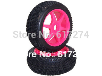 special offer 1/8 Buggy 6 Spoke plastic Wheels rims + V-edged Spike Tires tyre spare parts 1 pair