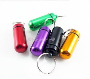 Metal Aluminum Pill box Outdoor Survival WaterProof Pill Case Keychain can hold match 5pcs