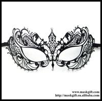 Free Shipping Wholesale Luxury Black Metal Laser Cut With Rhinestone Princess Masquerade Mask MA001-BK