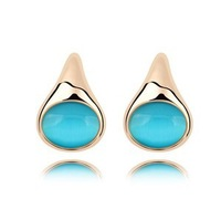 Hot Selling Women's Cat's Eye Stone Jewelry  Plated real Gold half months curved Stud  Opal Earrings Free shipping (4-colors)