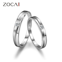 ZOCAI LOVE ENCOUNTER 0.06 CT CERTIFIED H /SI DIAMOND HIS AND HERS WEDDING BAND RINGS SETS ROUND CUT 18K WHITE GOLD