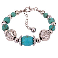 NEW hot selling delicate vintage figure hollow-out turquoise crystals bangle bracelet /Factory direct sales/ Free shipping