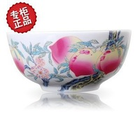 Top grade bone porcelain bowls w42 chinese style birthday peach bowl Microwave oven tall prevent hot tableware