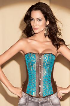 2013 Hot  Women intimates satin Corset  Sexy Lingerie  sky blue satin leather 701