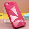 Free Shipping Fashion Geometry Pattern Soft Case for iphone 4 4s - Black