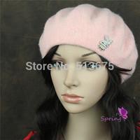 Free Shipping 2014 Fashion Wool Beret cute little rabbit wool beret painter cap winter female hat girl winter Ladies Hat