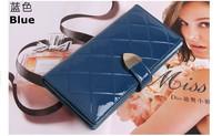 Free Shipping +  Korean cute LEATHER GENUINE Ms. wallet wallet patent leather women walletC045
