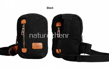 BAZ101 Vintage small army green khaki black Washed Canvas Shoulder bag messenger mailbag book bum waist bag for women girl men
