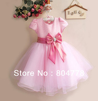 hot sales! fashion xmas kid evening dress short sleeve big bowknot flower girl's dress for party 1-4Y