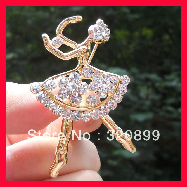 Hot New Item !W30*L50MM Ballet Girl Rhinestone Brooch With Gold Plated(China (Mainland))