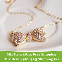Fashion elegant rhinestone necklace bowknot  BOW necklace Wholesale !(China (Mainland))