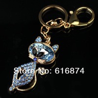 2014 wholesale lovely shinning red cat 18k gold plated metal keychains glass crystal stone key rings-6991