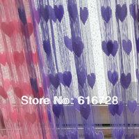 Free Shipping! Romantic heart-shaped Door curtains peach heart decorative Thread curtain 3*3M