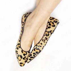 Holiday Sale NEW Women Girl Horse Hair Leopard Flat Pointed Shoes pointed toe Footwear Loafers Shoes XZ013(China (Mainland))