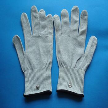 silvery fiber vibrating massage gloves/ hand gloves massager/electrodes massage gloves