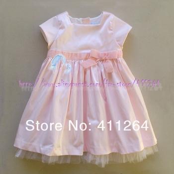 4pcs/lot(1-3Y) Wholesale infant baby 100% cotton lining velour bow taffeta dress square neckline girls dress Free shipping