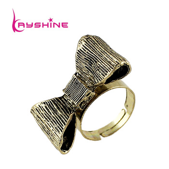 Vintage Jewelry 2014 New Designer Cute Antique Gold color Bowknot Rings for Women