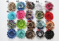 "2.5"" Print  chic shabby frayed chiffon flowers,chiffon flowers 200pcs/lot"