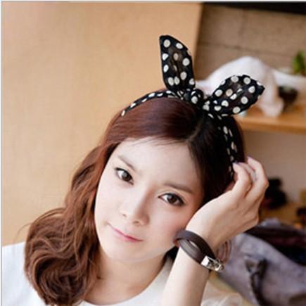10pcs/lot Korea Lovely Rabbit Bunny Ear Ribbon Scarf Headband Hair Band Haiband Scarf Chiffon TX 50(China (Mainland))
