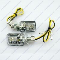 2x Motorcycle Stalk Turn Signal Light Indicator Blinker Mini 6 LED Amber Black Free shipping