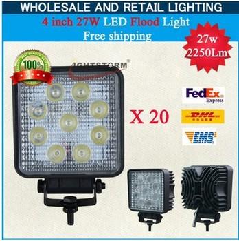 20pcs/lot Flood beam lights free shipping waterproof 27w led work light hot selling super bright 27 watt led wor light