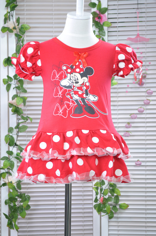 New 2013 wholesale dress girls short sleeve mini TUTU princess dress kids circle dot petticoat free shipping(China (Mainland))