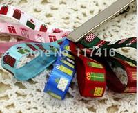 "9 mm 3/8"" Christmas gift  satin ribbon spool printed personalized ribbon 50 yards / lot"